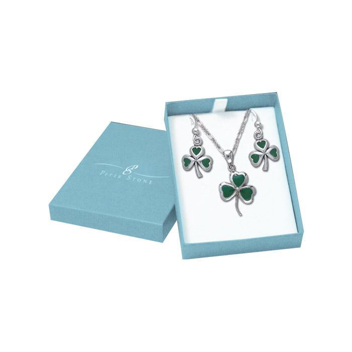 Make your wish in a shamrock Silver Pendant Chain and Earrings Box Set SET054 peterstone.