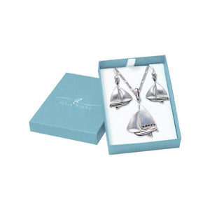 Sail Far with the Majestic Schooner Silver Pendant Chain and Earrings Box Set SET071