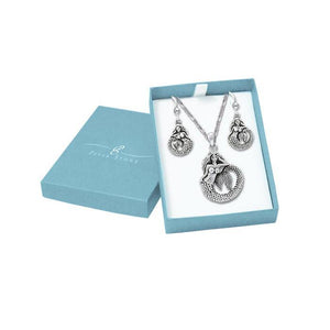 The Mystic Melody of a Sea Mermaid Silver Pendant Chain and Earrings Box Set SET074 peterstone.