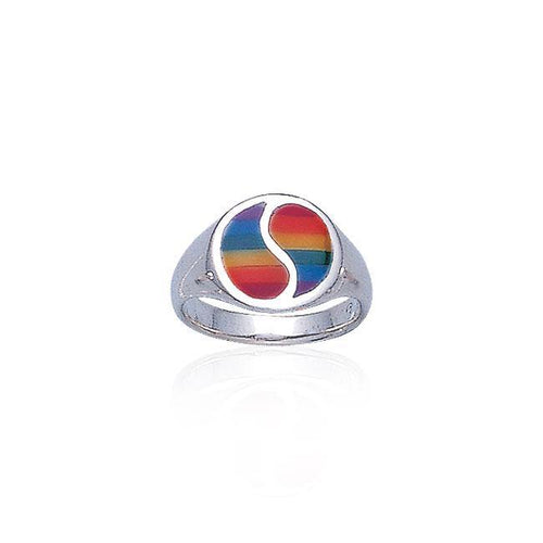 Rainbow Yin Yang Silver Ring SM078 peterstone.