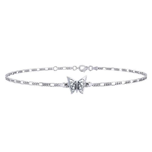 Butterfly Sterling Silver Anklet TAL037 peterstone.