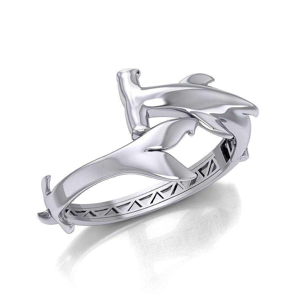 Hammerhead Shark Silver Cuff Bracelet with open lock