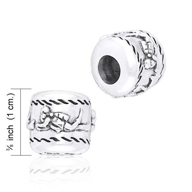 Cylinder Scuba Diver Silver Bead TBD036