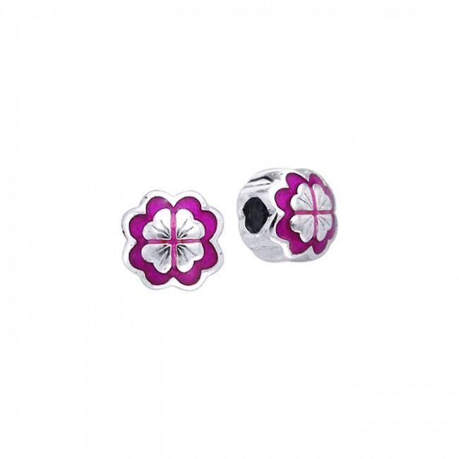 Colored Flower Silver Bead TBD090