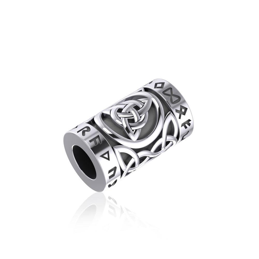 Triquetra in Circle with Rune Symbol and Celtic Silver Bead TBD367