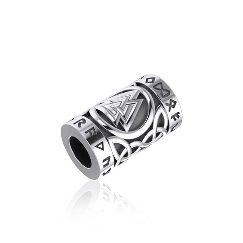 Norse Viking Valknut in Circle with Rune Symbol and Celtic Silver Bead TBD368