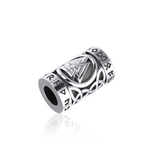 Norse Viking Valknut in Circle with Rune Symbol and Celtic Silver Bead TBD368 peterstone.