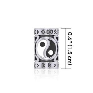 Yin Yang in Circle with Rune Symbol and Celtic Accented Silver Bead TBD370 peterstone.