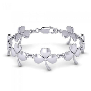 The continuity of life ~ Sterling Silver Jewelry Shamrock Link bracelet TBG293 peterstone.