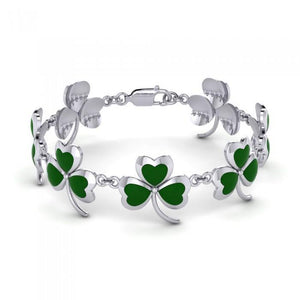 Captivated in the Shamrock Fortune ~ Sterling Silver Jewelry Link Bracelet TBG361