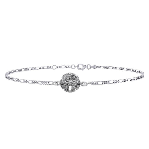 Sand dollar's beautiful reminder of the seashore ~ Sterling Silver Jewelry Anklet TBG377 peterstone.