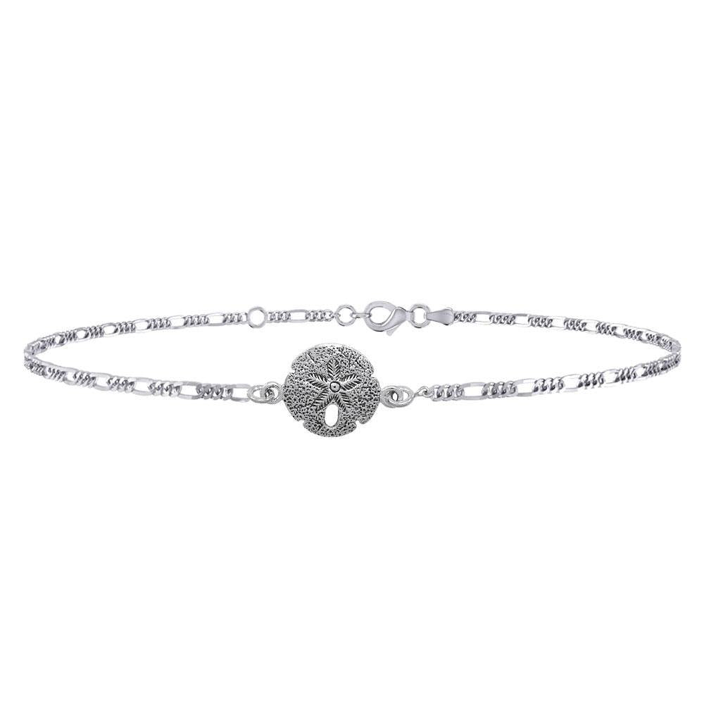 Sand dollar's beautiful reminder of the seashore ~ Sterling Silver Jewelry Anklet TBG377