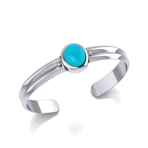 Silver Gemstone Cuff Bracelet TBG416 Bangle