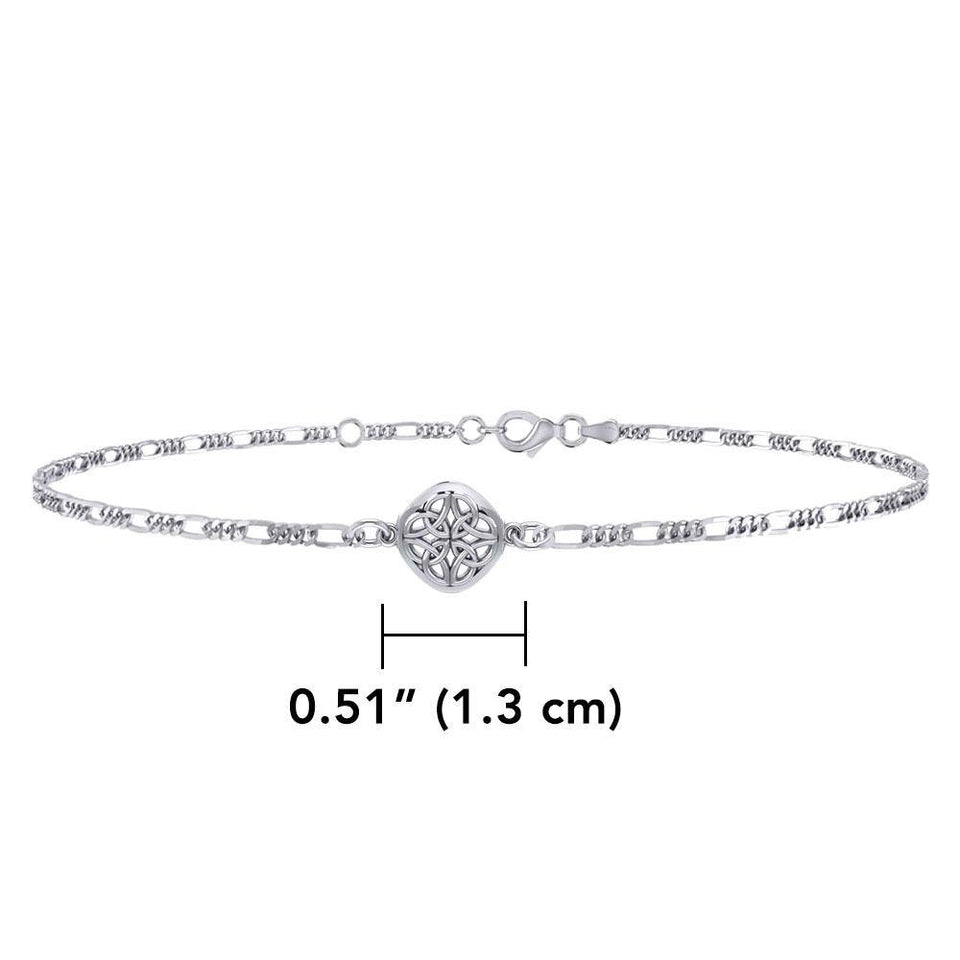Celtic Four Point Quaternary Knot Silver Anklet TBG727