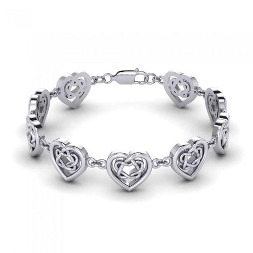 Celtic Knotwork and Hearts Silver Bracelet TBG737