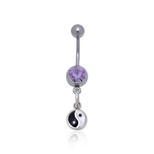Yin Yang Silver Gemstone Belly Button Ring TBJ008 peterstone.