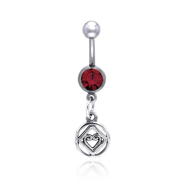 NA Hearts in Recovery Silver Belly Button Ring TBJ016