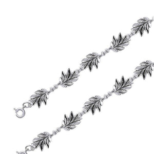 Oak Leaves Silver Link Bracelet TBL024 peterstone.