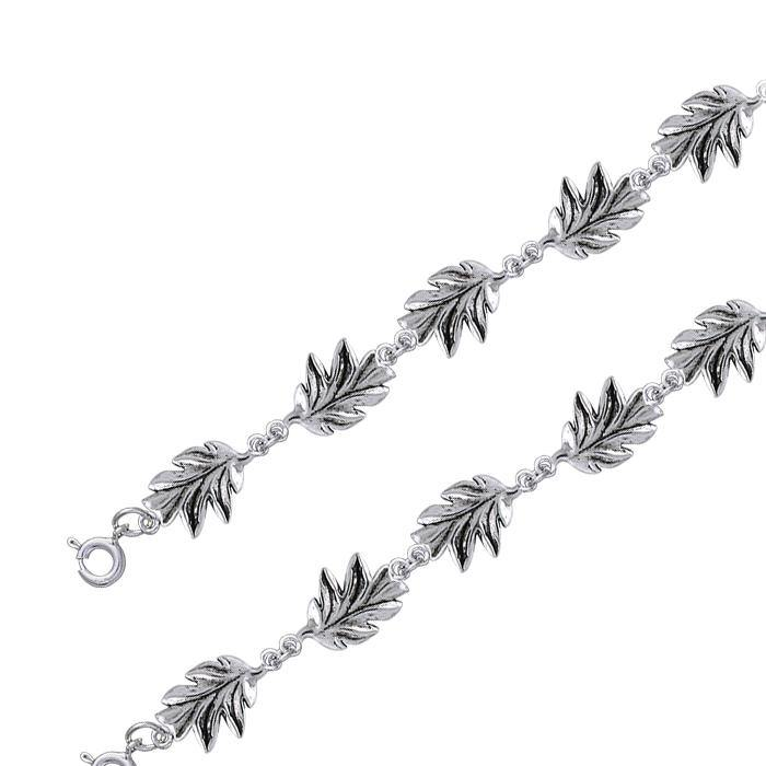 TBL024 Oak Leaves Silver Link Bracelet