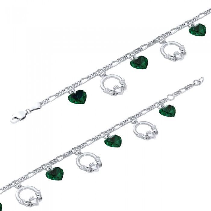Irish Claddagh with Emerald Glass Hearts Silver Bracelet TBL038