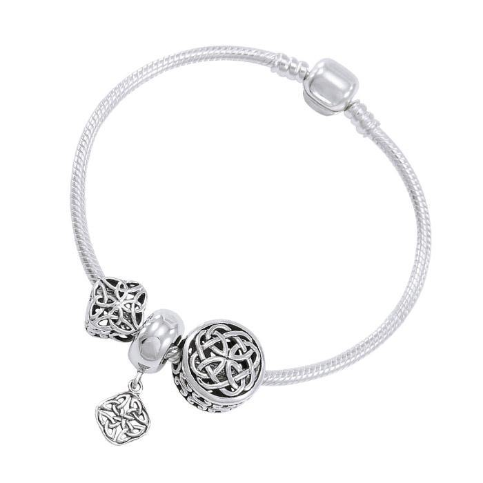 Celtic Knot Sterling Silver Bead Bracelet TBL347 peterstone.