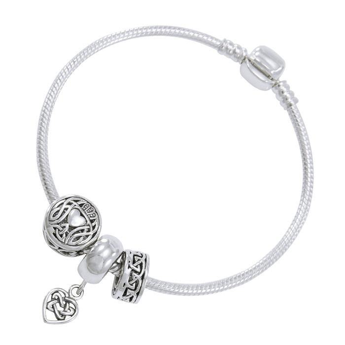 Celtic Heart Sterling Silver Bead Bracelet TBL351 peterstone.