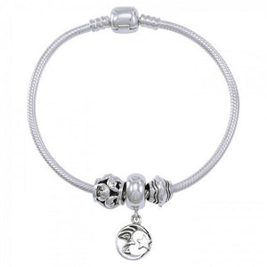 Moon and Star Sterling Silver Bead Bracelet TBL358 peterstone.