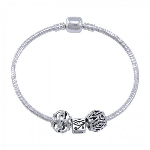 Eye of Horus Sterling Silver Bead Bracelet TBL359 peterstone.