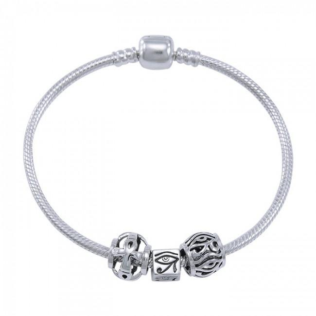 Eye of Horus Sterling Silver Bead Bracelet TBL359