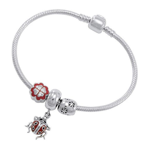 Lady Bug Sterling Silver Bead Bracelet TBL362 peterstone.