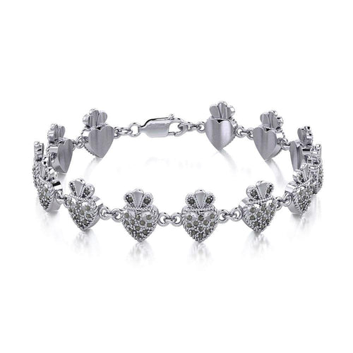 Silver Heart with Marcasite Link Bracelet TBL395 peterstone.