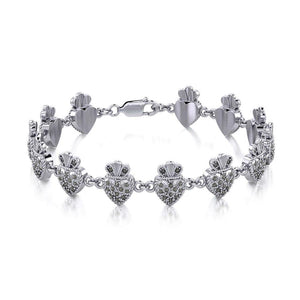 Silver Heart with Marcasite Link Bracelet TBL395