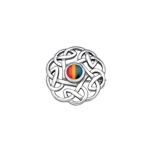 Rainbow Celtic Knots Silver Brooch TBR185R peterstone.