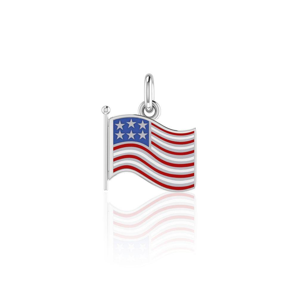 Silver American Flag with Enamel Charm TC712