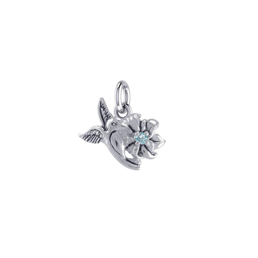 Silver Flying Hummingbird with Gemstone Flower Charm TCM630
