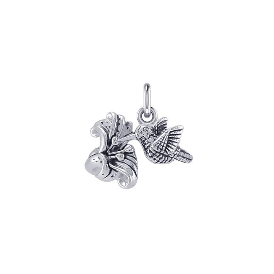 Flying Hummingbird with Flower Silver Charm TCM631 peterstone.