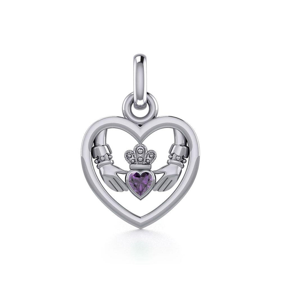 Claddagh in Heart Silver Charm with Gemstone TCM666 peterstone.