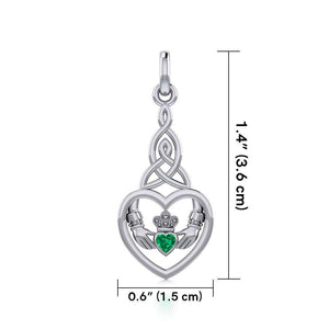 Heart Claddagh with Celtic Trinity Knot Silver Charm with Gemstone TCM667 peterstone.