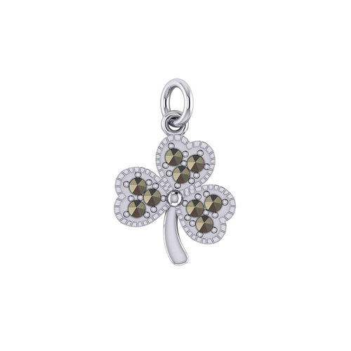 A young spring of luck and happiness Silver Celtic Shamrock Charm with Marcasite TCM668 peterstone.