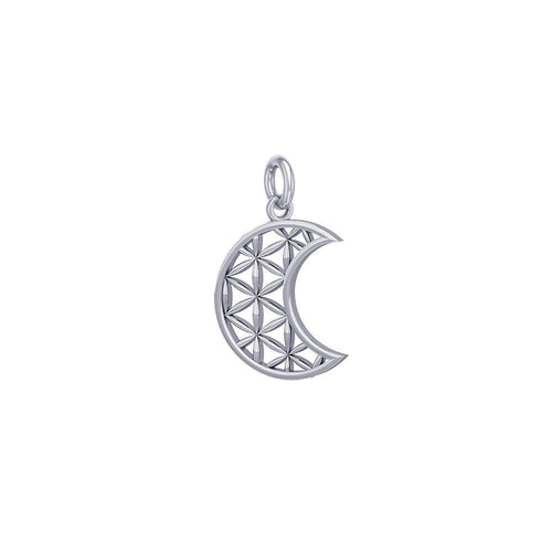 The Flower of Life in Crescent Moon Sterling Silver Charm TCM673