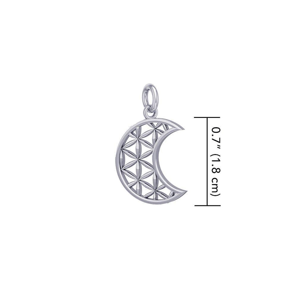 The Flower of Life in Crescent Moon Sterling Silver Charm TCM673 peterstone.