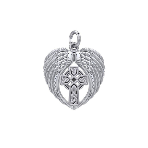 Feel the Tranquil in Angels Wings Sterling Silver Charm with Celtic Cross TCM674 peterstone.