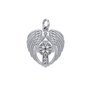 Feel the Tranquil in Angels Wings Sterling Silver Charm with Celtic Cross TCM674