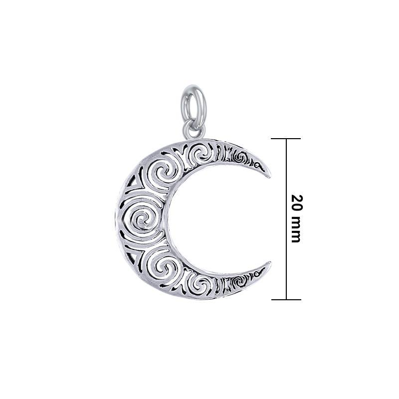 Spiral Crescent Moon Sterling Silver Charm TCM676