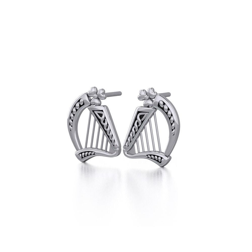 Celtic Knotwork Silver Harp Earrings TE1101