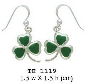 A young spring of luck and happiness ~ Sterling Silver Jewelry Celtic Shamrock Hook Earrings TE1119 peterstone.
