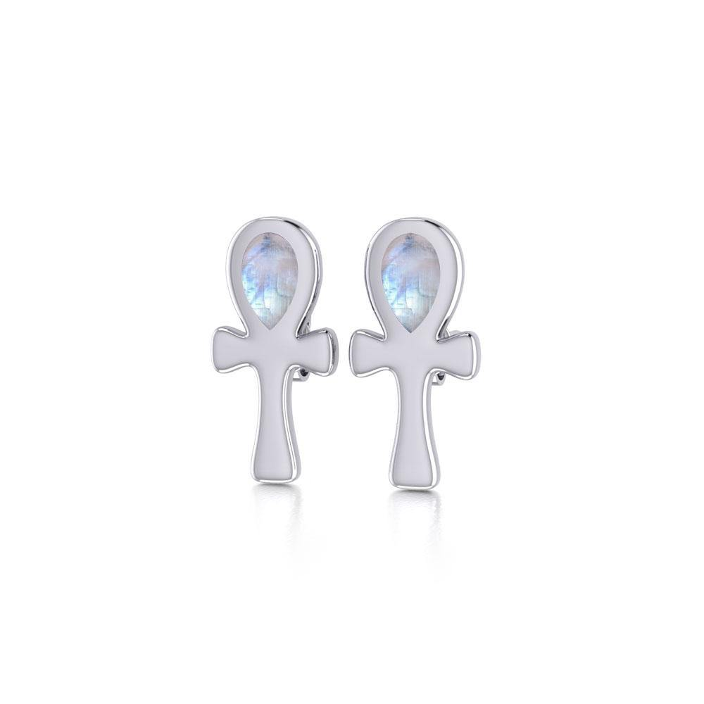 The cross of life ~ Sterling Silver Ankh Post Earrings with Gemstone TE2026