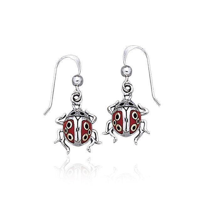 Inlaid Ladybug Silver Earrings TE2060