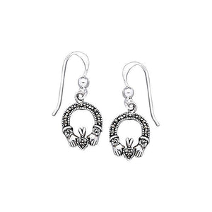 Irish Claddagh Silver Earrings with Marcasite TE2103