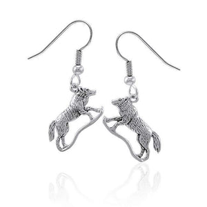 Running Wolf Silver Earrings TE226 peterstone.